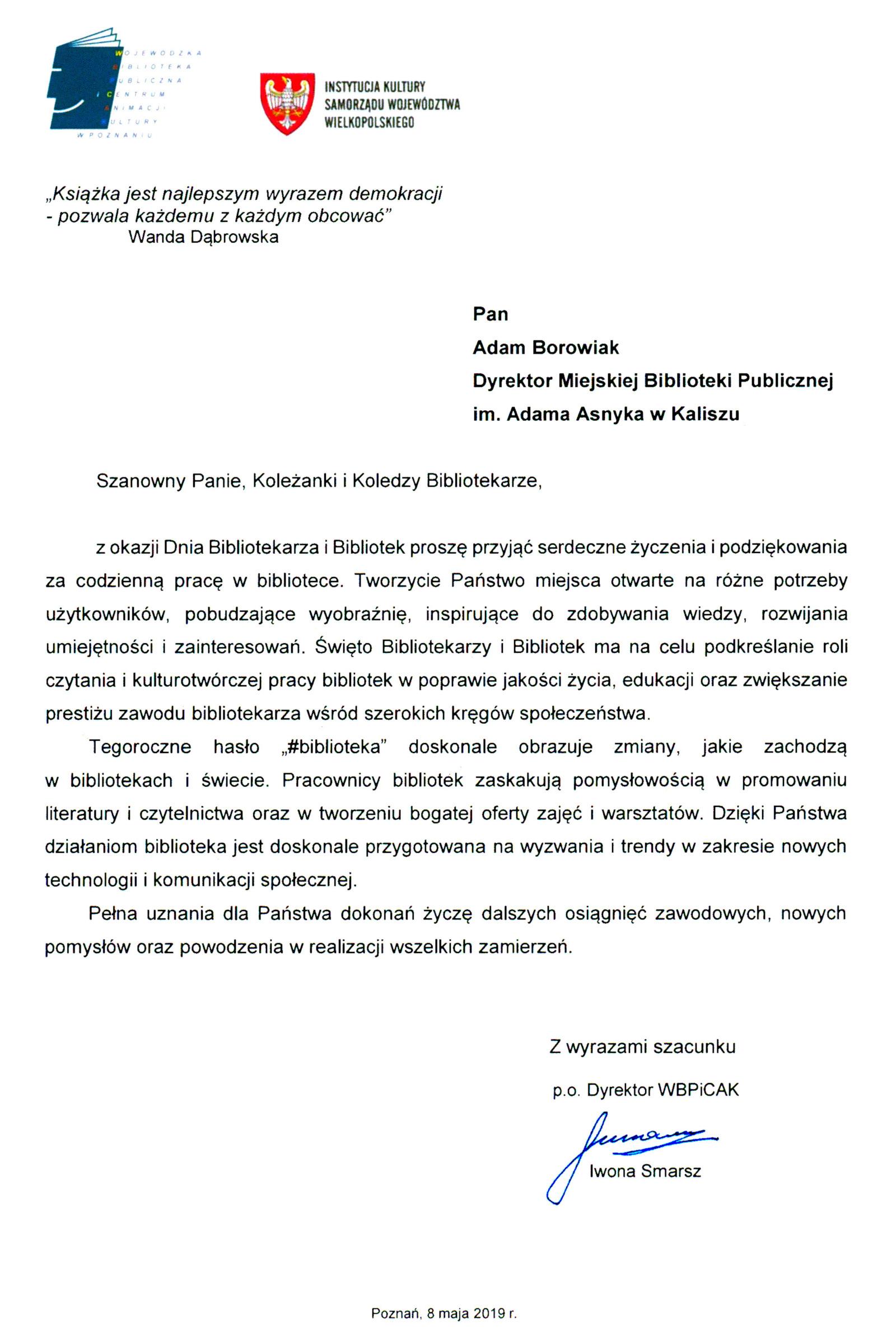 List od Iwony Smarsz